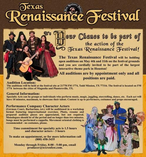 audintions foer Texas Renaisance Festival